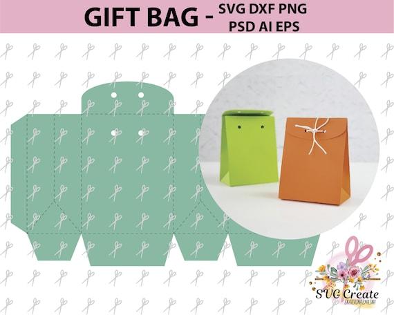 paper bag template favor box printable gift diy papercut etsy