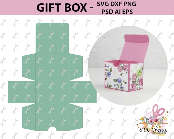 Gift Box Template Svg Dxf Ai Eps Png Favor Paper Cut Diy Printable Cutting File Laser Die Machine Papercutting