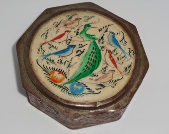vintage metal Indo Persian octagonal box with hand painted shell scene of colourful birds