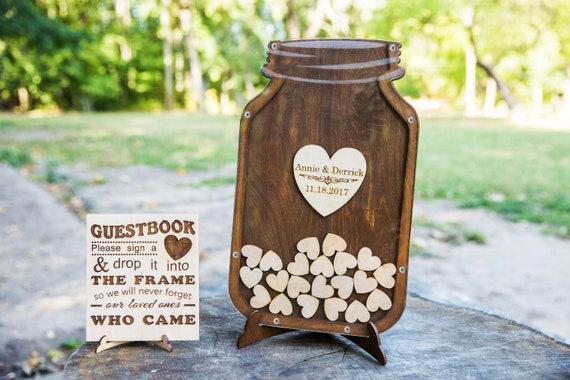 Gastebuch Hochzeit Gast Buch Mason Jar Gast Buch Gemalt Holz Etsy