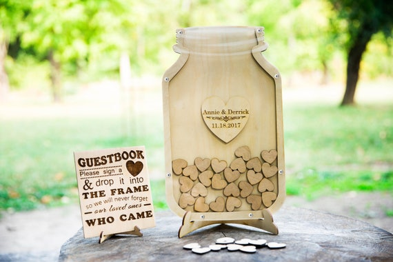 Frame guest book, Mason jar guest book, Heart guest book Painted hearts for any listing