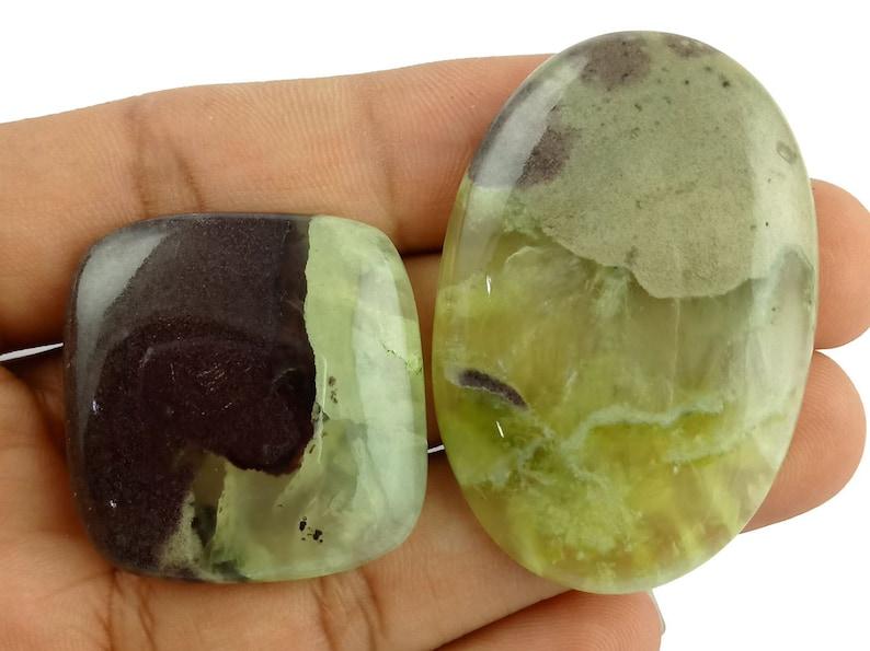 2 Pcs Natural Bio Prehnite 44x30mm 126Cts Cabochon Gemstone,Bio Prehnite Healing Gemstone,Bio Prehnite Rock Gemstone