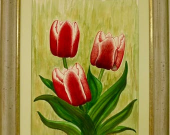 Tulips, painting, acrylic on Malplatte, art, Kurt Sauer.