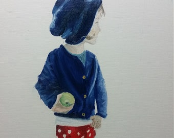 Girl with the Hat, Giclee print of original oil painting by MAOL art Marie Armstrong O'Leary in Dublin, Ireland, 9 x 12 inches