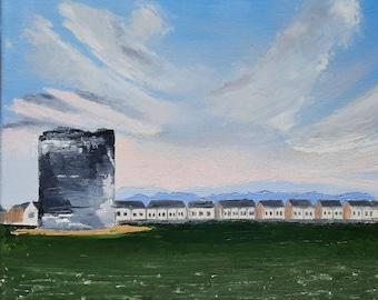 "Rahillion Houses oil on canvas by MAOL Marie Armstrong O'Leary 10x12"""