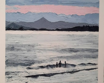 """Embracing the Grey, Sea Swimming Series #1 is a fine art giclee print of wild winter swimming by MAOL Art Marie Armstrong Oleary size 10x8"""""""