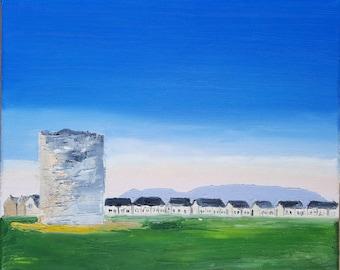 "Rahillion Windmill Sunrise, oil on canvas by MAOL Marie Armstrong O'Leary 10x12"""