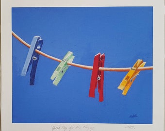 """Great Day for the Drying Giclee prints by MAOL Marie Armstrong O'Leary. 10x12"""" print. Free Delivery"""
