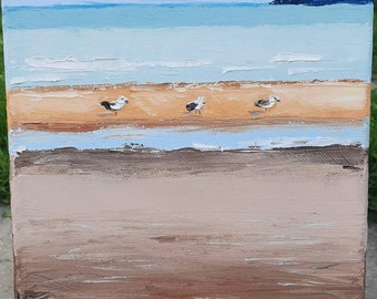 """Three Little Terns ,oil on canvas  by MAOL Art, Marie Armstrong O'Leary,  8x10"""",Little birds sitting on Portrane Beach with the tide out."""