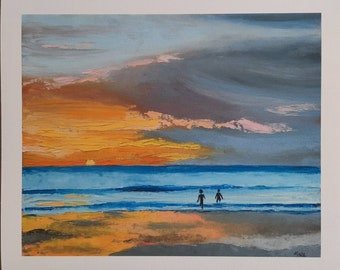 """Sunrise Swims, Sea Swimming Series #3, Giclee fine art print of an original oil painting by MAOL Art, Marie Armstrong O'Leary, 10 x12"""""""
