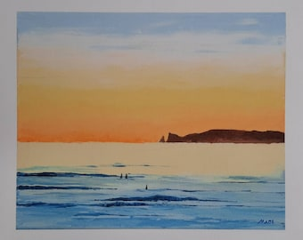 """Dawn Swim, Sea swimming Series #4, fine art Giclée Print of an original oil painting by MAOL Art, Marie Armstrong O'Leary. 10x12"""""""