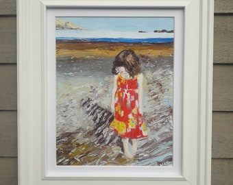 Daughter on the Beach, Giclee Print of original oil painting by Marie Armstrong O'Leary MAOL Art on an Irish Beach. Dublin Seascape.