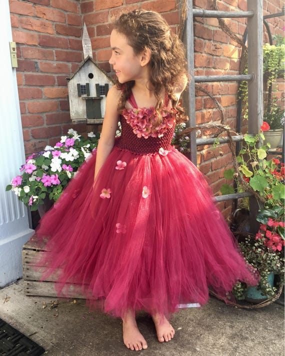 Burgundy Tutu Tulle Flower Girl Dress, Christmas Gown, Winter Wedding Junior Bridesmaid, Hydrangea Tutu,Burgundy, Maroon, Wine, Cranberry