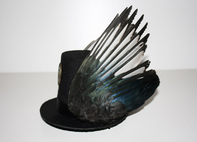 4513e810cf994 Taxidermy Magpie Wings Top Hat Steampunk Gothic Fascinator Wing Bronze  Keyhole Lock Fantasy Unusual Mother's Day Gift for Her