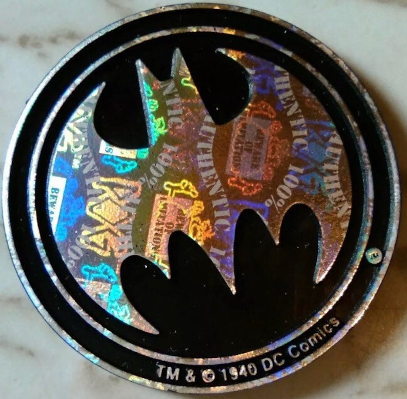 One Rare Waddingtons Batman Pog Slammer Kini Circa 1995 - silver holo