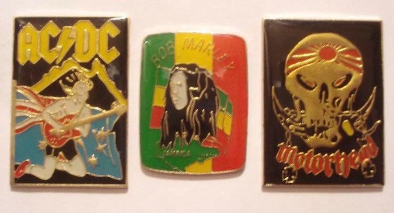 Motorhead ACDC Bob Marley Heavy Metal Rock Pin Badges Vintage