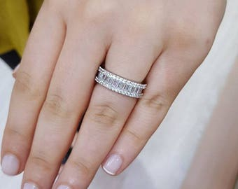 baguette cut 925 Sterling silver ring, band ring, zircon ring, engagement ring, wedding ring,