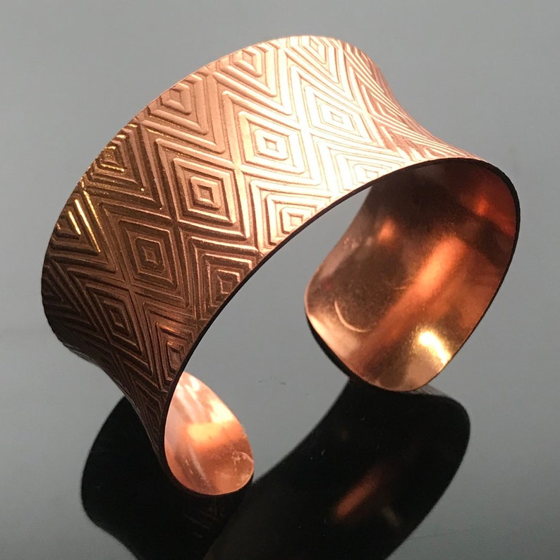 Copper Anticlastic Diamond Textured Cuff