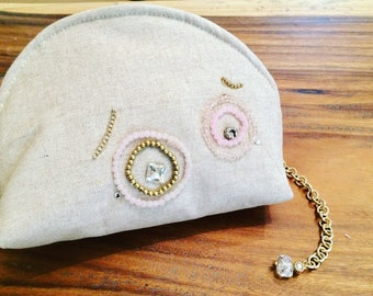 Beige cotton Clutch Bag-collection YOU're, Sweet Eyes