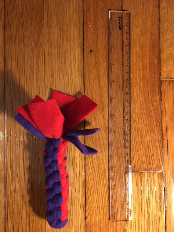 Tug Toss and Chew Fleece Dog Toy red and purple solid Square