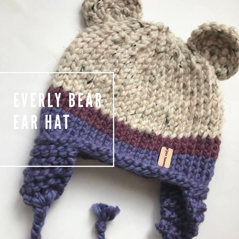 845f294cd Everly Bear Ear Hat / Baby Winter Hat / Chunky Knit Hat / Ear Flap Hat /  Adorable Baby Shower Gift / Sweet Winter Beanie for Kids