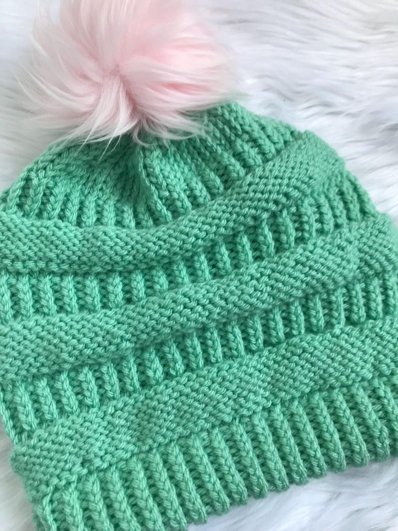 fa32daaed07 CC Inspired Beanie in Cotton Candy with Pink Fux Fur Pom Pom