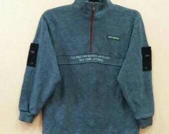 MC GREGOR Sweatshirt jumper pullover spellout embroidery half zipper 140 size