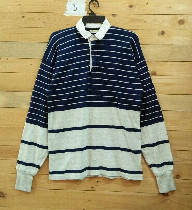 a2852672e L. L. Bean Rugby shirt stripe pullover half button medium size | Etsy