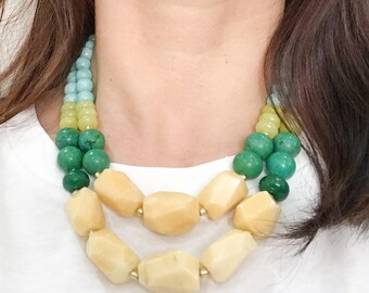 Statement Necklace - Gemstone Beaded Necklaces, Corporate Necklace, Spring Summer 2018, Gifts for Boss, Women Entrepreneurs, Jade Jewelry