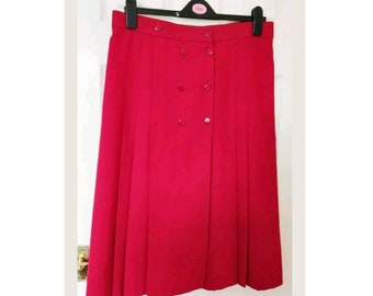 f63def31acc8a Vintage St Michaels Red Pleated Button Details Midi Length Skirt Size 18 US  14 EU 44
