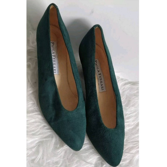 Vintage Paola Ferrari Womens Green Suede Court ShoesEu 36 UK  3ad69434e