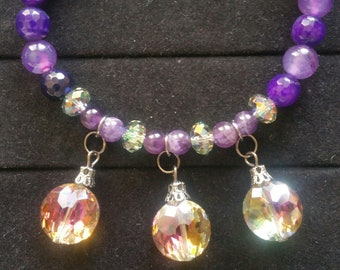 Amethyst & Crystal Gypsy Beaded Bracelet