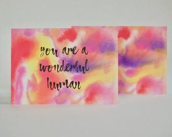 Multichromatic Watercolor Cards // Set of 8 Folded Cards With and Without Text