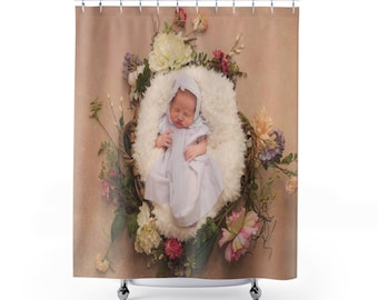 Custom Shower Curtain Photo Personalized Backdrop Quote Printed In USA