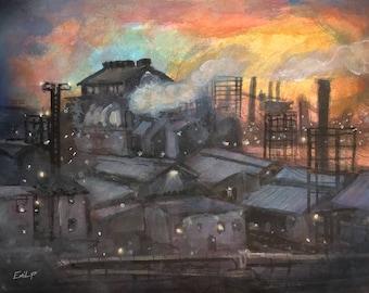 Pittsburgh Mill 14x11 Watercolor Digital Download
