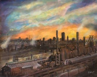 Pittsburgh Mill Watercolor 14x11 Digital Download