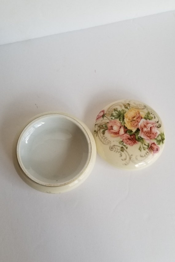 Vintage Royal Bavarian Porcelain Trinket Box with roses and circled in gold trim Gift for Mom Grandma?
