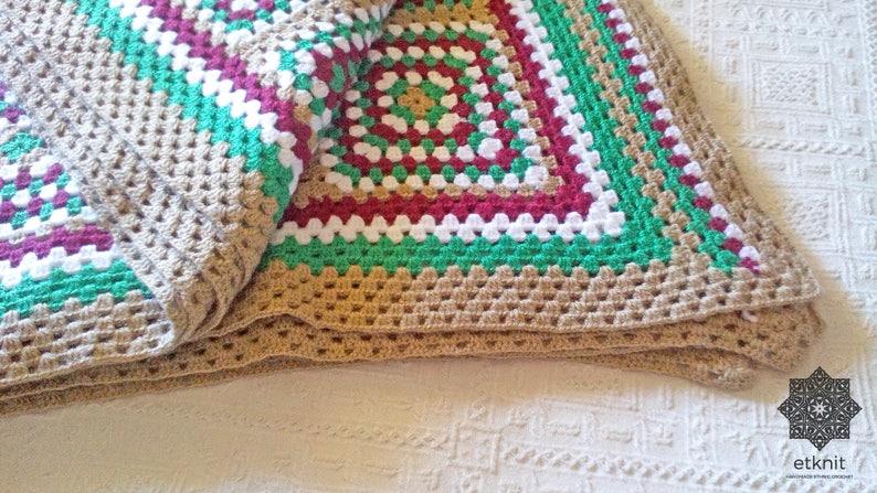 Granny Square Afghan Blanket Crochet Blanket Multicolor Etsy