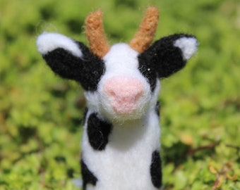 Handmade Needle Felted Cow