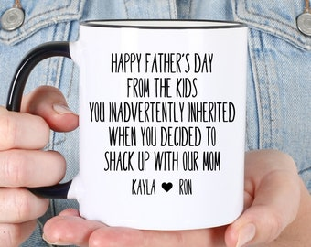 PERSONALIZED Step Dad Father's Day Gift with Kids Names Coffee Mug, Gift for Step Dad on Father's Day, Birthday, Mug for Stepdad #