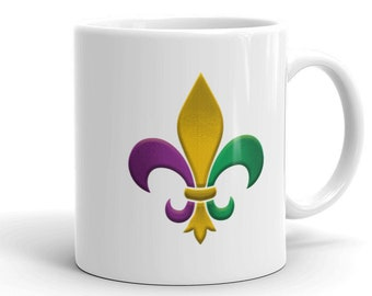 Fleur De Lis Mug - New Orleans Mug - Louisiana Mug - Mardi Gras Fleur - Cajun Kitchen Decor - 11 oz Mug - Fleur De Lis