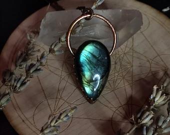 Labradorite Pendant Necklace Green, Electroformed Crystal Jewelry