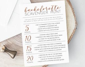 Bachelorette Scavenger Hunt, INSTANT DOWNLOAD, Printable Bachelorette Game, Selfie Challenge, Photo Game, Hen Party Game