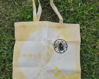 Tie dyed, bee print tote bag.