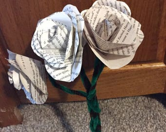 Paper Flower Bouquet- Custom Book Pages