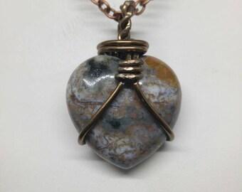 Copper heart of polychrome Jasper on chain