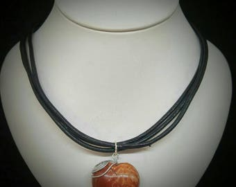 Leather with brecciated Jasper Heart Necklace