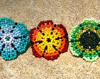 Seed bead ring-boho chic-handmade ring-unique ring-huichol ring