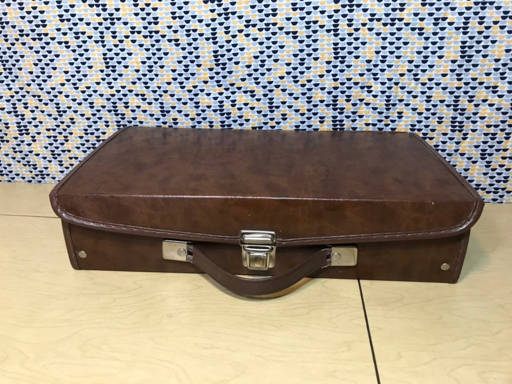 Cassette Carrying Case   Tape Storage   Vintage Music Briefcase   Brown  Faux Leather   Tear On Top