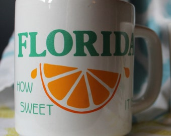 "Vintage Florida ""How Sweet It Is"" Coffee Mug"